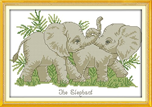 "Good Value Cross Stitch Kits Beginners Kids Advanced -The Elephant 11 CT 17""X13"", DIY Handmade Needlework Set Cross-Stitching Accurate Stamped Patterns Embroidery Home Decoration Frameless"