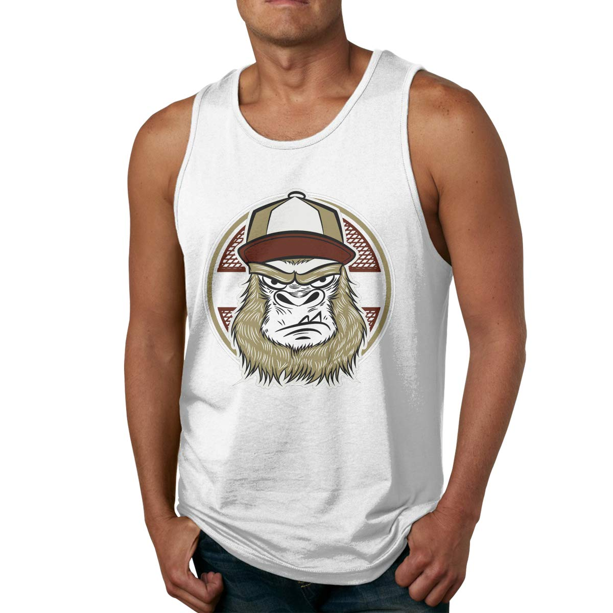 Mans Casual Pure Color O-Neck Skate Gorilla with Cap Sports Tanks