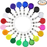 SHAN RUI 20pcs Retractable Badge Holder Reels with Clip for Name Card Key Card,20 Colors