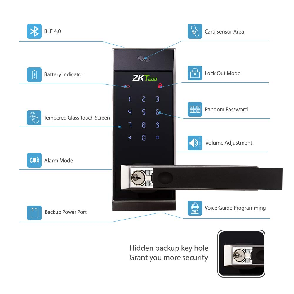 Bluetooth Enabled Keyless Keypad Door Lock Digital Electronic Smart Locks+2 pcs Mifare Cards with ZK Smart Key app.