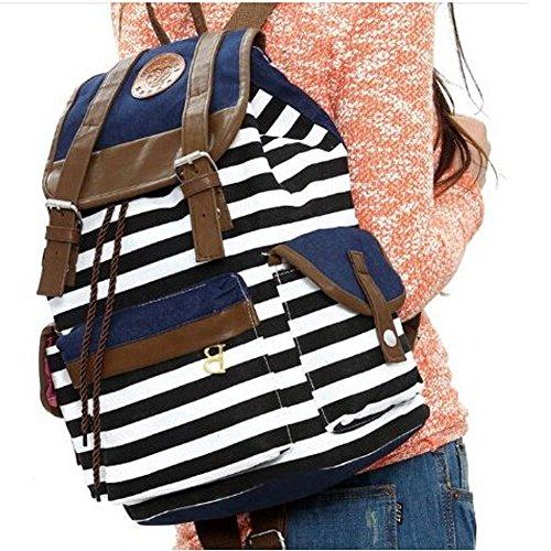 Marrywindix Unisex Canvas Backpack School Bag Vintage Stripe College Laptop Bags Rucksack for Teens Girls Boys Students Outdoor Travel Red