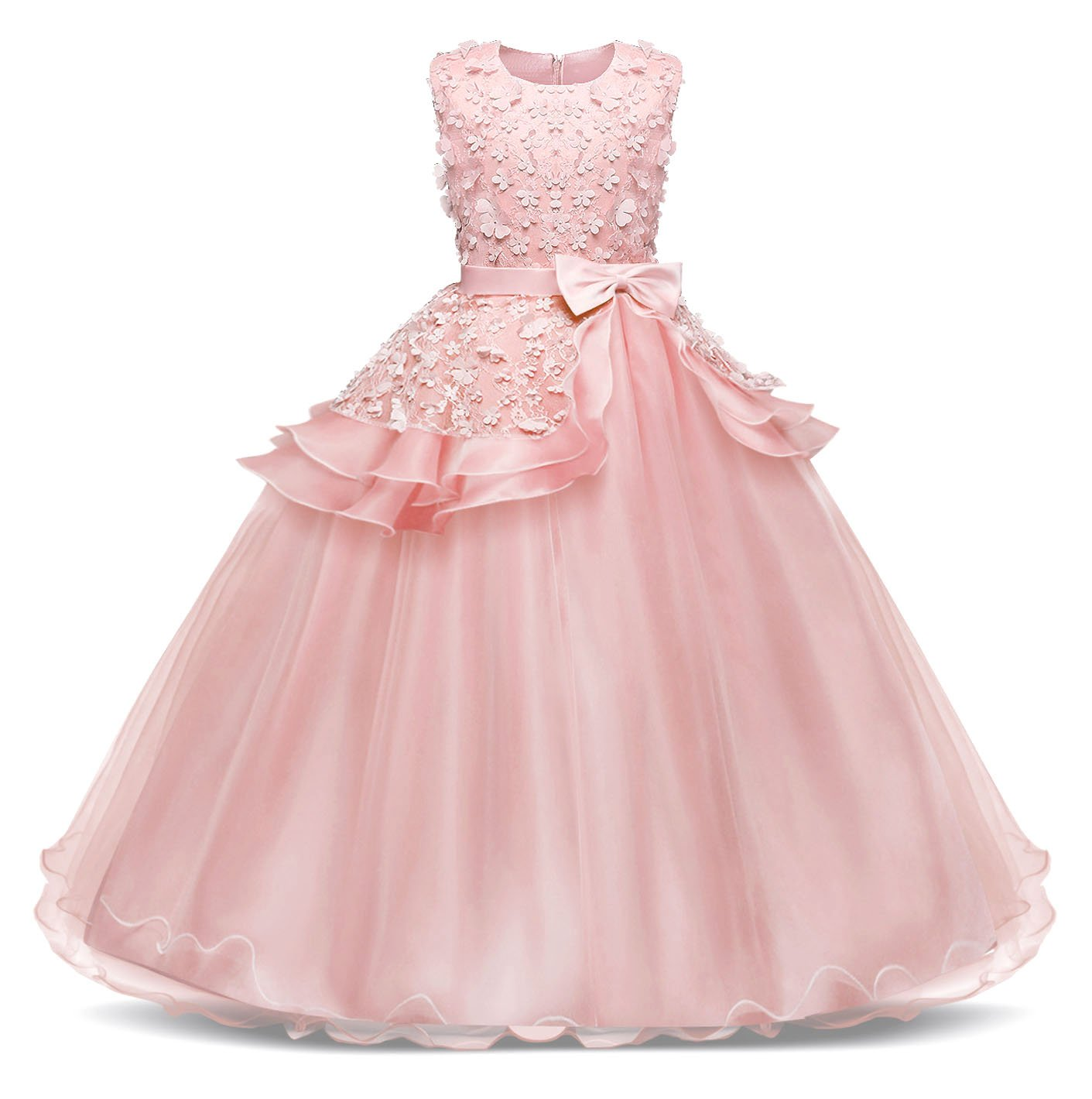 AmzBarley Wedding Pageant Girls Dress Party Special Occasion Long Tulle Bow G030-CA