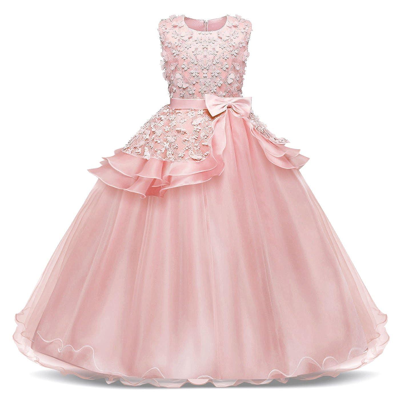 Bestfive Girls Floor Length Princess Dresses Kids Sleeveless Wedding Party Prom Ball Gowns Dress 4-14 Years