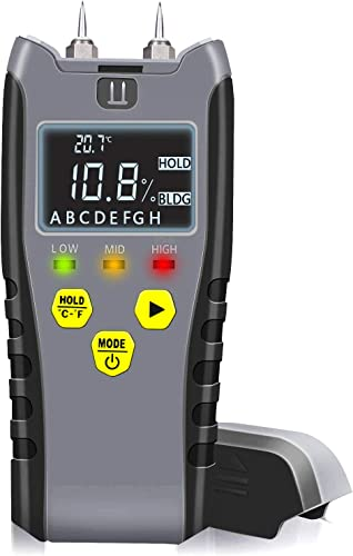 Digital Moisture Meter, Water Leak Detector, Moisture Tester, Pin Type, Backlit LCD Display With Audible and Visual High-Medium-Low Moisture Content Alerts