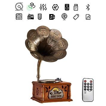 ZZLQIAN - Torre de Disco de Vinilo con Bluetooth, Madera, Grabador ...