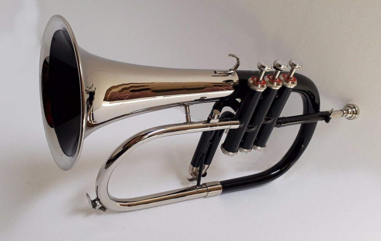 SHREYAS TF45 Bb Flat NICKLE BLACK Flugel Horn With Free Hard Case+Mouthpiece by SHREYAS (Image #1)