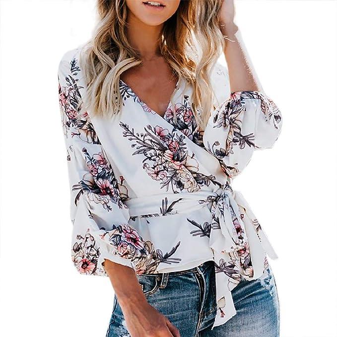 TOPKEAL Moda Blusa de Mujer con Estampad Floral con Tirantes ...