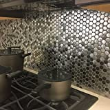 Penny Round Black Silver Stainless Steel Metal Mosaic Tile For Backsplash Wall (Box of 5 Sheets $119)