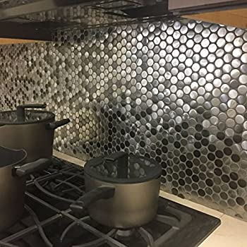 Concave convex penny round design stainless steel silver - Penny tile backsplash kitchen ...