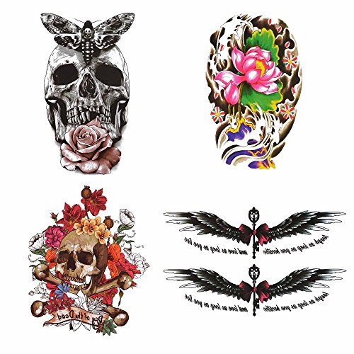 COKOHAPPY 4 Sheets Large Lady Temporary Tattoo , Lotus Rose Flower Wing Skull Butterfly Bow Word Flash Tattoo , Easy to Apply and Long Lasting for Women (Temporary Rose Tattoos)