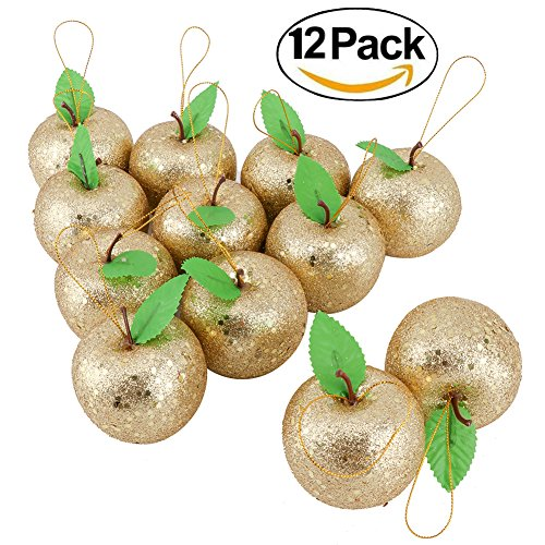 Biowow 12 Pack Glitter Apples Xmas Tree Hanging Ornaments Christmas Wedding Party Decorations(Golden,6.5CM x - Golden Accent Apple