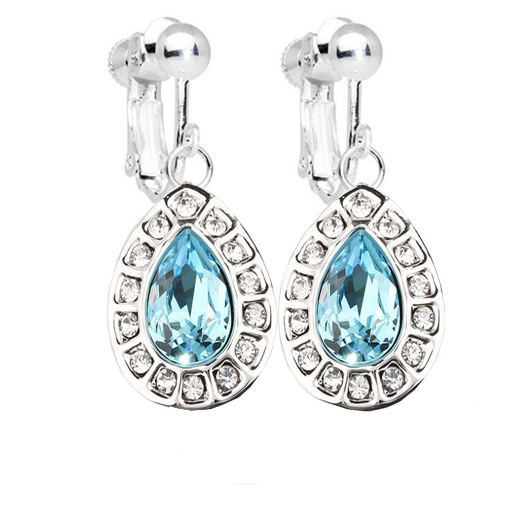 Fashion Female Love Heart Light Blue Clip on Earrings White Gold Plated with Crystal