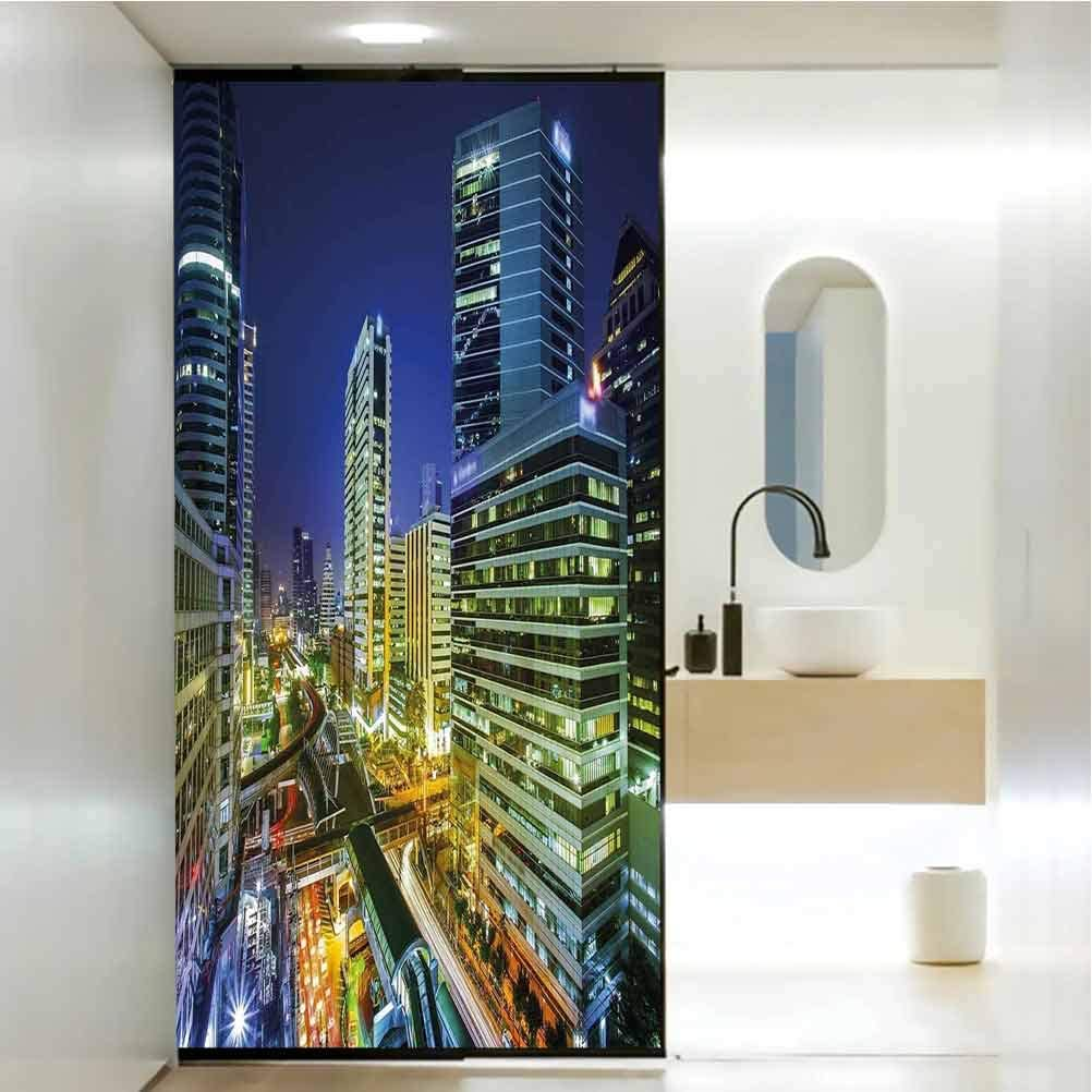 """35.4""""W x 78.7""""L inches,Door sticker,Child bedroom and baby glass sticker glass window film,for Home Living Room Bedroom,Urban,Bangkok City Night View Highways Buildings Traffic Modern Business Theme,N"""