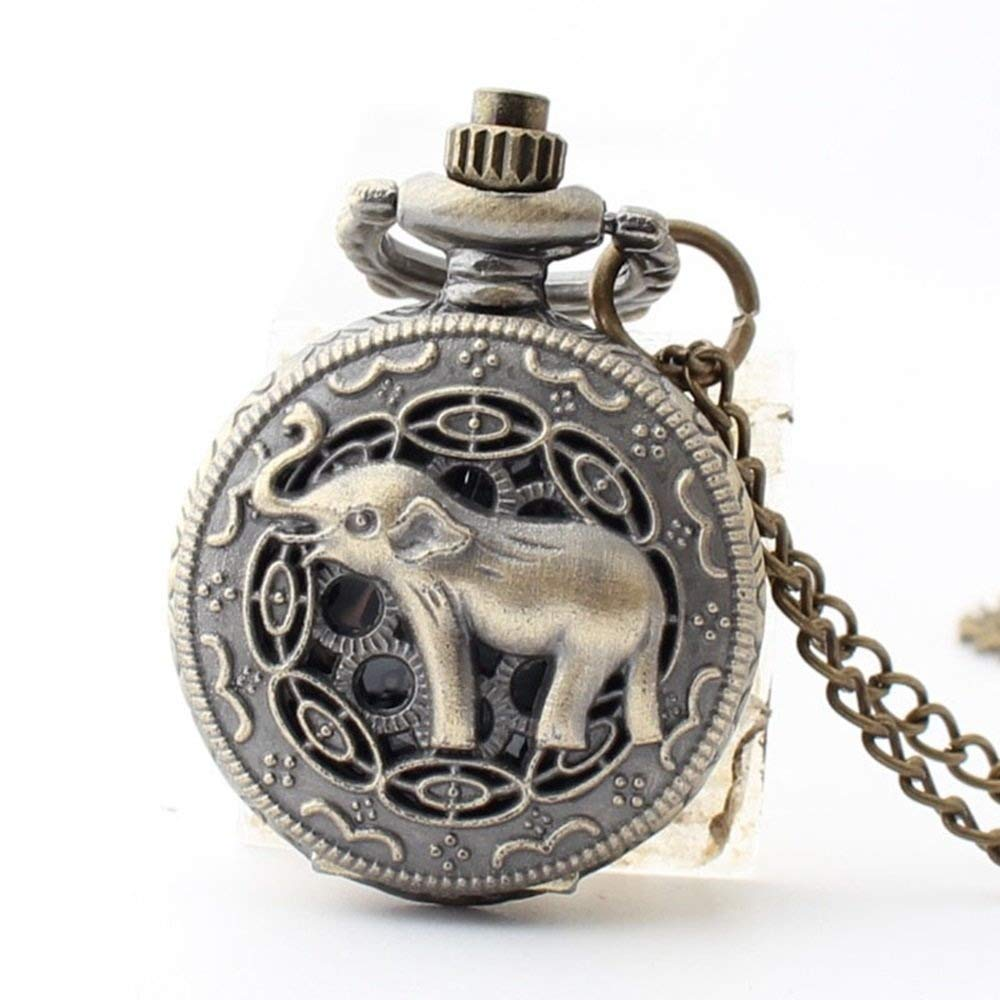 ZXCHB Pocket Watch Vintage Watch Elephant Pattern for Men Women by ZXCHB