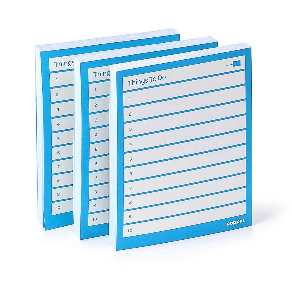 Poppin Blue Task Pads, Set of 3