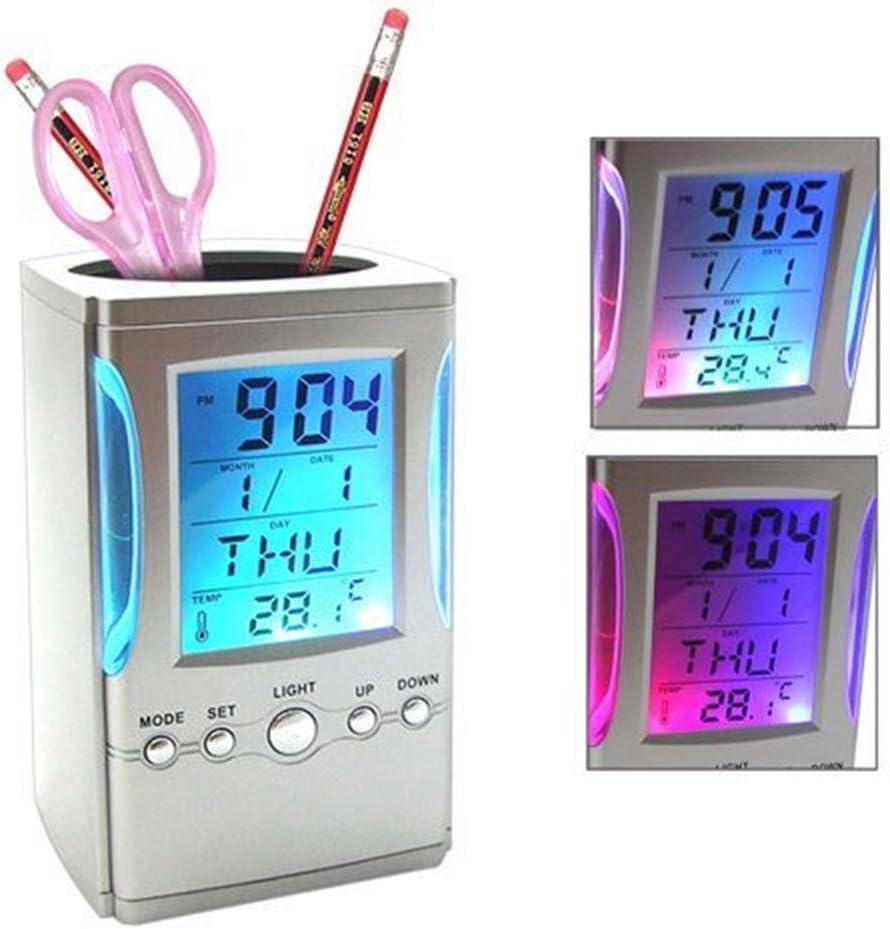 Kangkang@ Colorful LCD Display Electronic Digital Desk Table Calendar Thermometer Alarm Clock Pen Pencil Holder