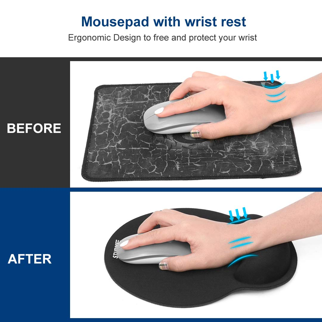 STURME Mouse Pad with Wrist Support Non-Slip Base Ergonomic Silicone Wrist Rest Use for Laptop, Home, Office