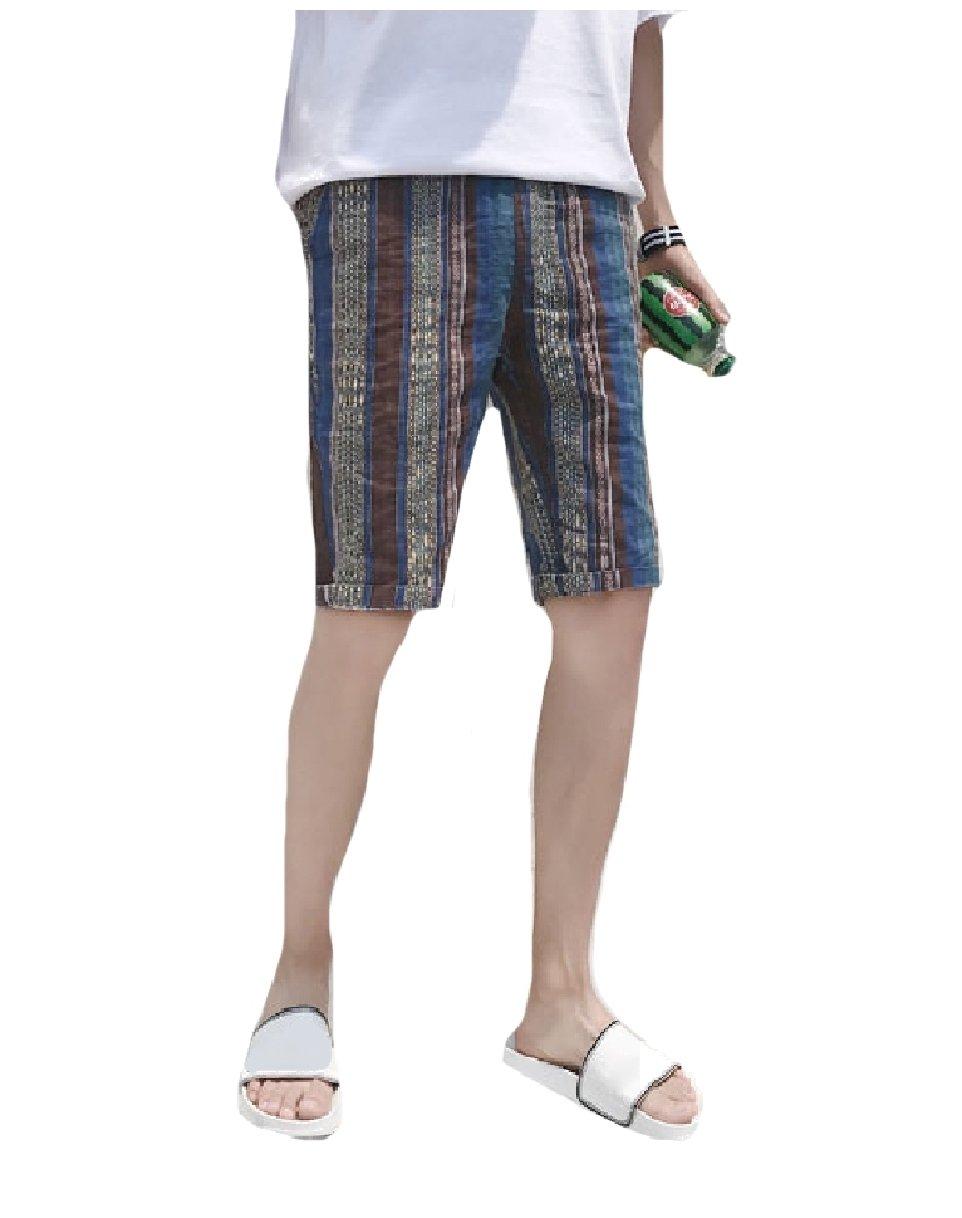Mfasica Men's Pocket Fine Cotton Thin Straight Leg Beach Midi Shorts Blue M