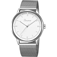 Metal Casual Watches Womens Men Geneva Womens Classic Quartz Stainless Steel Wrist Watch Bracelet Watches - Silver Band White Surface