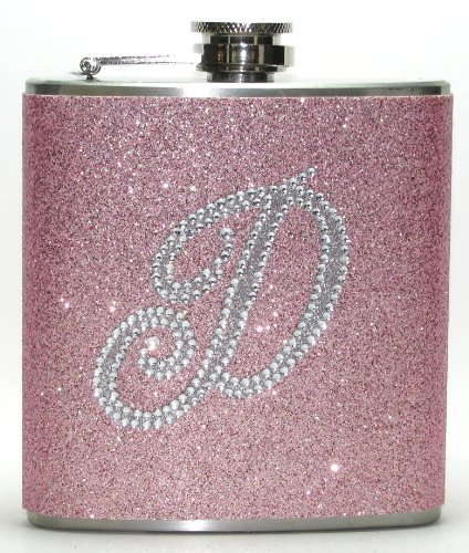Champagne Pink Personalized Bling Rhinestone Glitter Liquor Hip Flask Flasks Gift