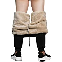 MANLUODANNI Men's Winter Fleece Sweatpants Sherpa Lined Pants Active Drawstring Jogger Trousers