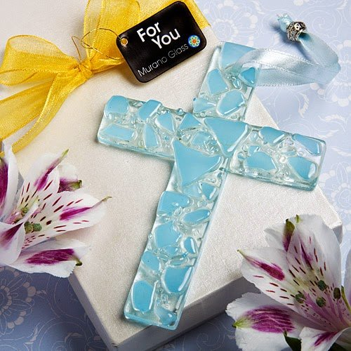 30 Murano Glass Collection Hanging Cross Favors (Blue)