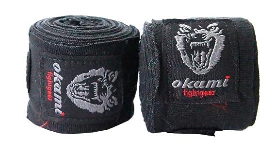 OKAMI Fightgear /pro 12 0017 hand bandages 460 cm negro