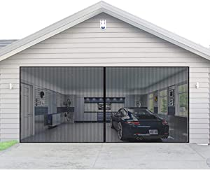 Magnetic Garage Door Screen for 2 Car 16x7 ft Double Door Mesh with Hook and Loop Tape Durable Fiberglass Garage Screen Cover Kit, Heavy Duty Door Screen Curtain