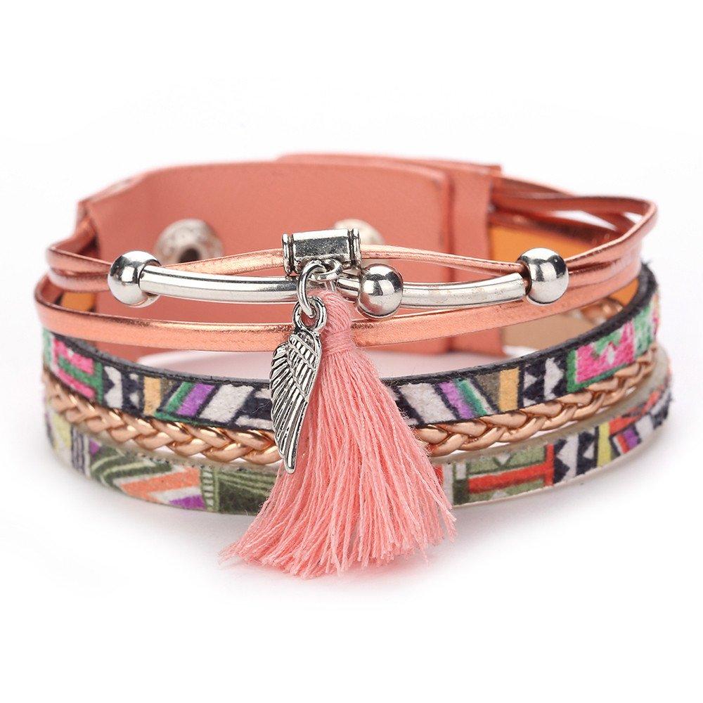 Women Lovely Tassel Feather Multi-Layer Winding Jewelry Bangle Wrap Charm Bracelets Gift for Girls Mens Teens Student Best Friend Forever(E)