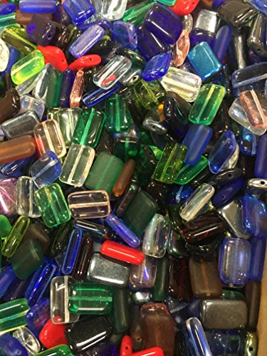 Modebeads , mixed variety of Czech glass Chiclets beads by the 1/2 pound . (multi) 1/2 -