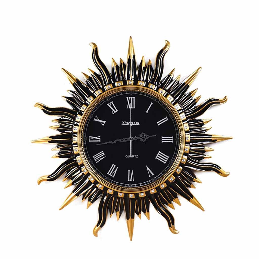 壁の壁の創造的なヨーロッパのレトロな壁の装飾の壁時計のリビングルームの丸い太陽の芸術の壁時計時計のミュート (色 : A) B07F1G3SWF A A