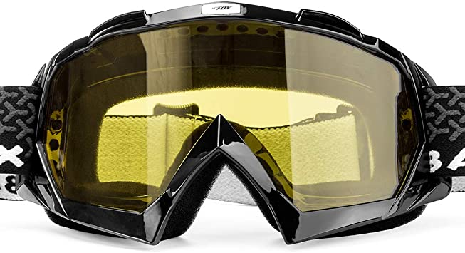 MOTORCYCLE GOGGLES ANTI-FOG//UV EYE PROTECTION FITOVER GLASSES COLORED BLACK