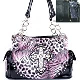Cleto Concealed Carry / Gun Pocket Animal Print Leopard Fashion Rhinestone Gemstone Studded Cross Embellishment Shoulder Handbag Purse in Purple, Bags Central