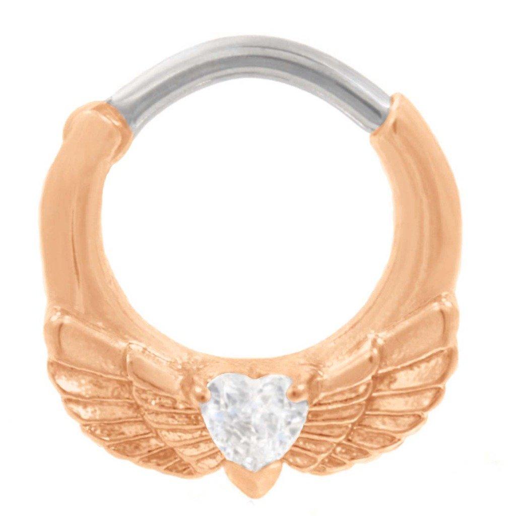 *Aqua CZ Heart /& Wings* 14G Belly Ring Body Jewellery