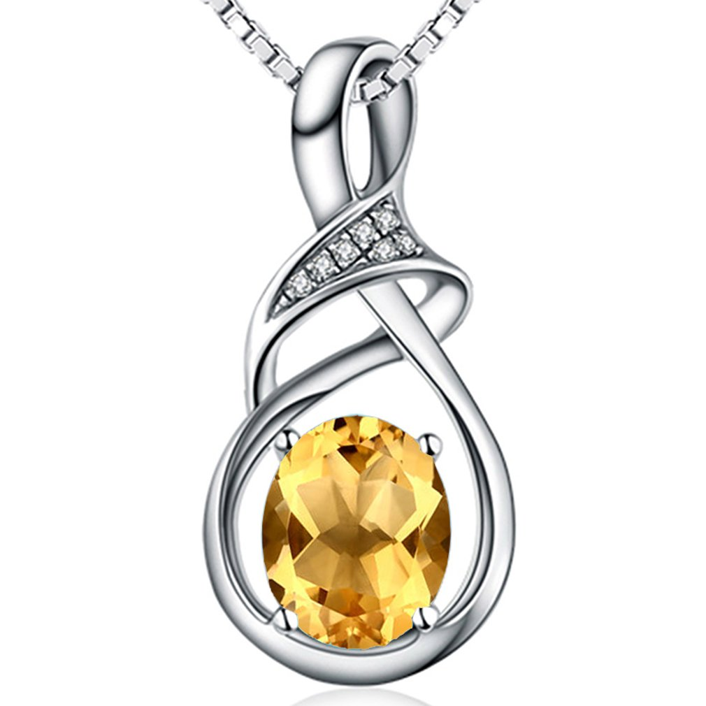 HXZZ Sterling Silver Natural Gemstone Citrine Pendant Necklace Fine Jewelry for Women