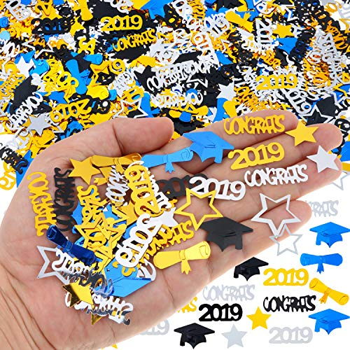 2019 Graduation Confetti, Graduation Party Supplies - 2 Oz / 1500 Pieces. Graduation Table Decorations are of Gold, Black, Silver and Blue CONGRATS, Stars, 2019, Cap, Diploma Confetti