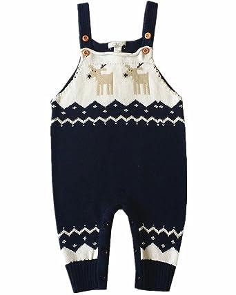 573fbfbdc57c Amao Unisex Newborn Baby Knitted Sweater Deer Pattern Toddler Romper Suit  Christmas Birthday Gift (Navy