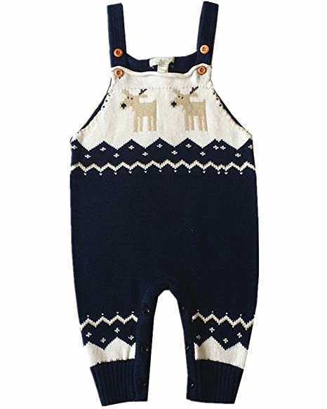 562a740e1881 MULLSAN Children's Fireplace Lovely Shoulder Strap Romper Reindeer Knitted  Sweater Outfits Best Christmas Gift (Navy