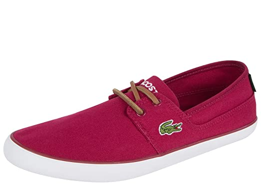 Lacoste Marice Lace Tbr Mens Red Canvas Casual Dress Boat Shoes 12