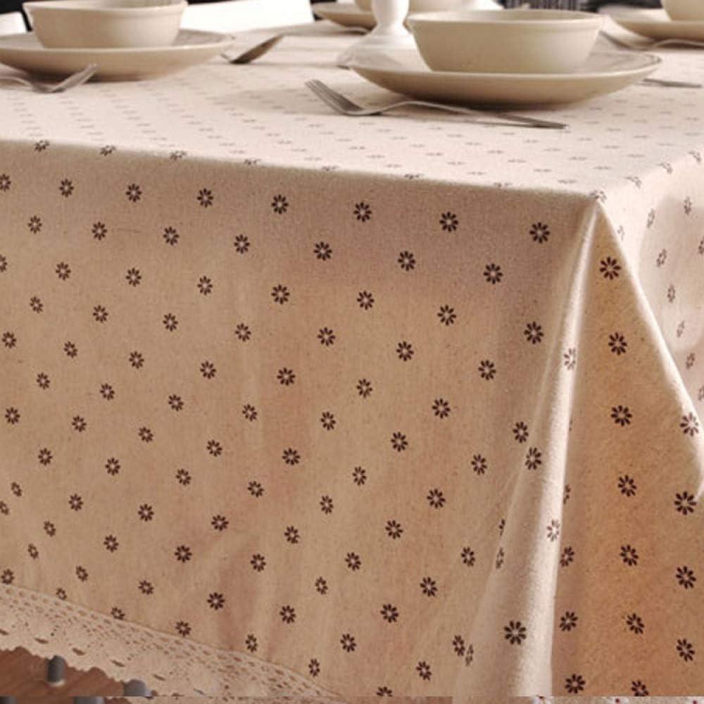 DJUX - Mantel pequeño para jardín, diseño de Margaritas, Color Blanco, Margarita marrón + Encaje, 140 * 180CM