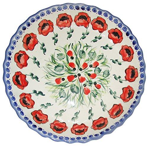 Boleslawiec Stoneware Polish Pottery Unikat Pie Plate or Quiche Baker, Evas Collection  inchPoppy Field inch
