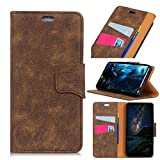 Flip Wallet Case for Huawei Honor View 10 Man Shock Protection with Card Slots Lightweight Skin and Adjustable Stand Brown