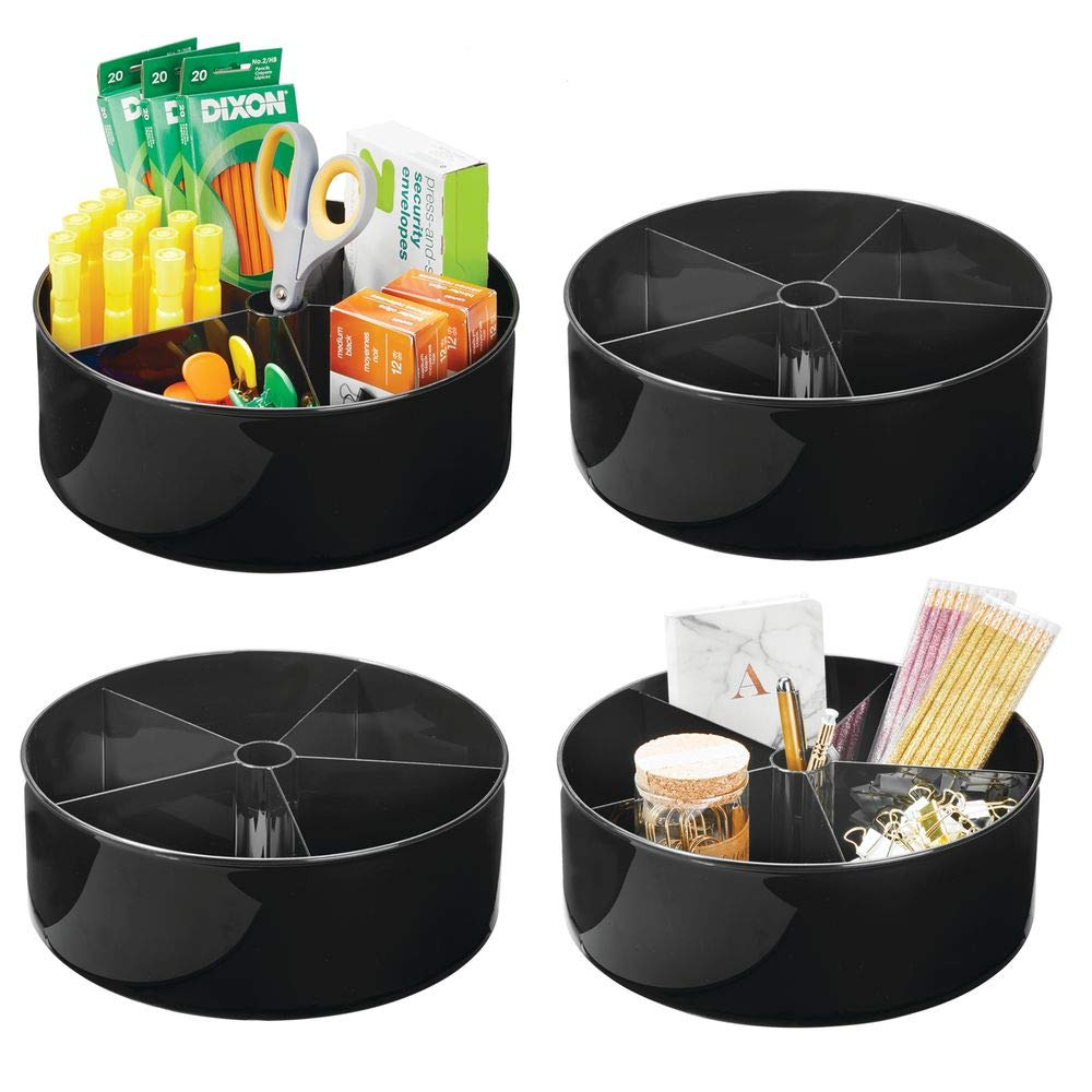 mDesign Deep Plastic Lazy Susan Turntable Storage Container - Divided Spinning Organizer for Home Office Supplies, Pens, Erasers, Tape, Colored Pencils - 4 Pack - Black