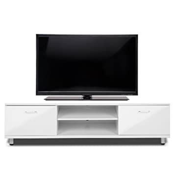 Voilamart TV Unit 160CM High Gloss TV Cabinet White TV Stand Lowboard 2  Shelves U0026 2