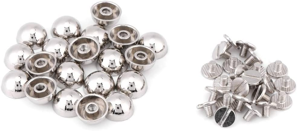 Silver Screw Rivets 6sets 8*12mm Metal Button Screwback Studs Screw Studs for Bag Belt Leather Craft Hardware Accessories