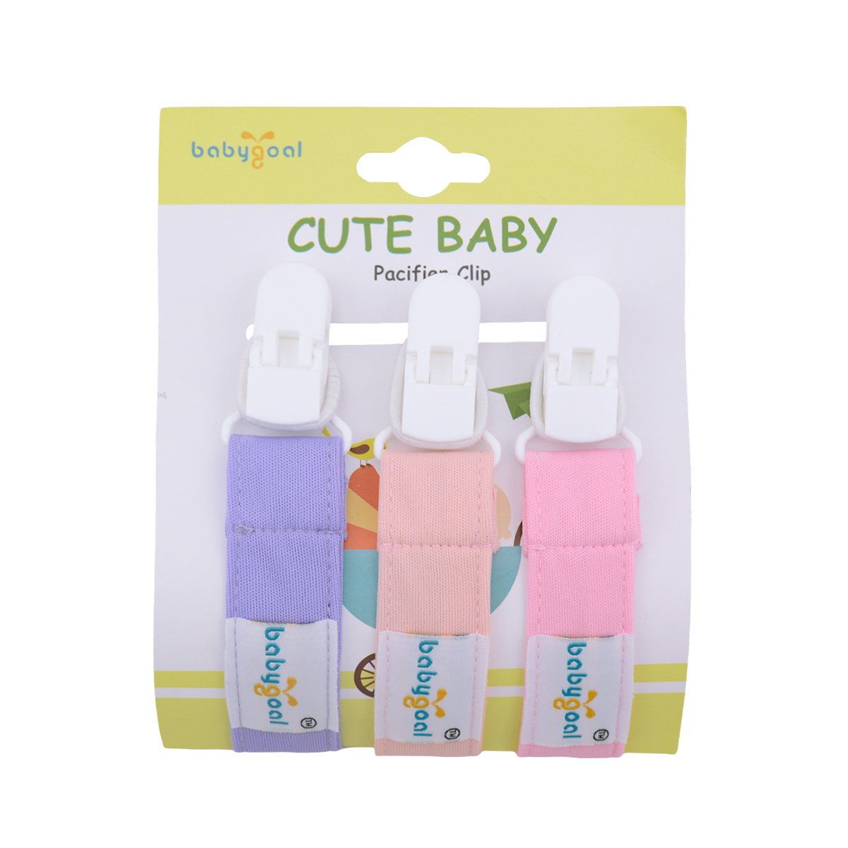 Babygoal Silicone Pacifier Clip Soothie and Baby Shower Gift 2GJL03-HZ-CA 2 Pack Pacifier Holders,Teething Beads with Pacifier Case for Boys and Girls Fits Most Pacifier Styles,Teething Toys