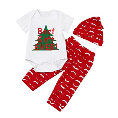 b206c00ad987 RNTOP_Clothes Festive Red Newborn Baby Infant Boy Girl Letter Romper Tops+ Pants Hat Christmas Outfits Set