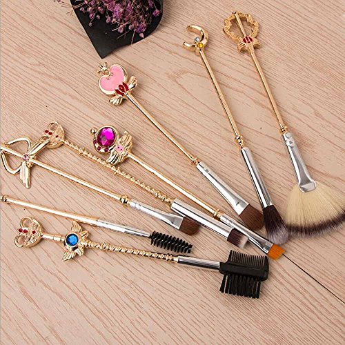 Makeup brush,8pcs Sailor Moon Gold Makeup Brush Set With Pouch, Magical Girl Cute Cosmetic Makeup Brushes With Pink Pouch