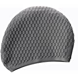 SODIAL(R) Silicone Waterproof Swimming Cap - Black & Star