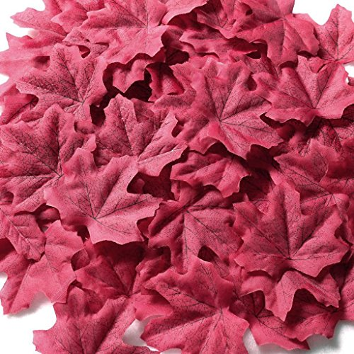 Gresorth Wine Red Fake Leaf Artificial Autumn Fall Maple Leaves Art Flower Wedding Decoration - 500PCS
